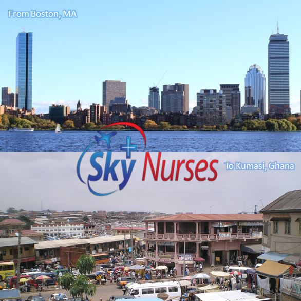 Sky Nurses flight nurse service from Boston, MA to Kumasi, Ghana
