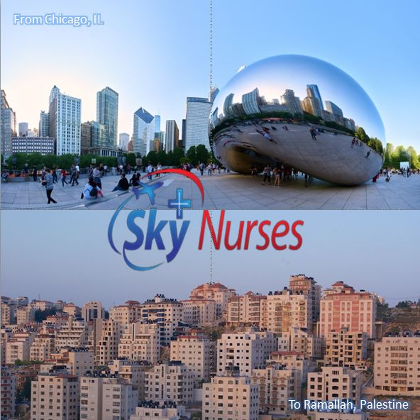 Air medical escort services provided by Sky Nurses from Chicago, IL to Ramallah, Palestine