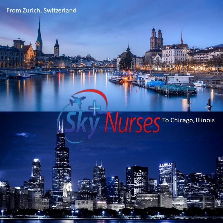 Flight Nurse Service from Zurich, Switzerland to Chicago, Illinois Provided By Sky Nurses